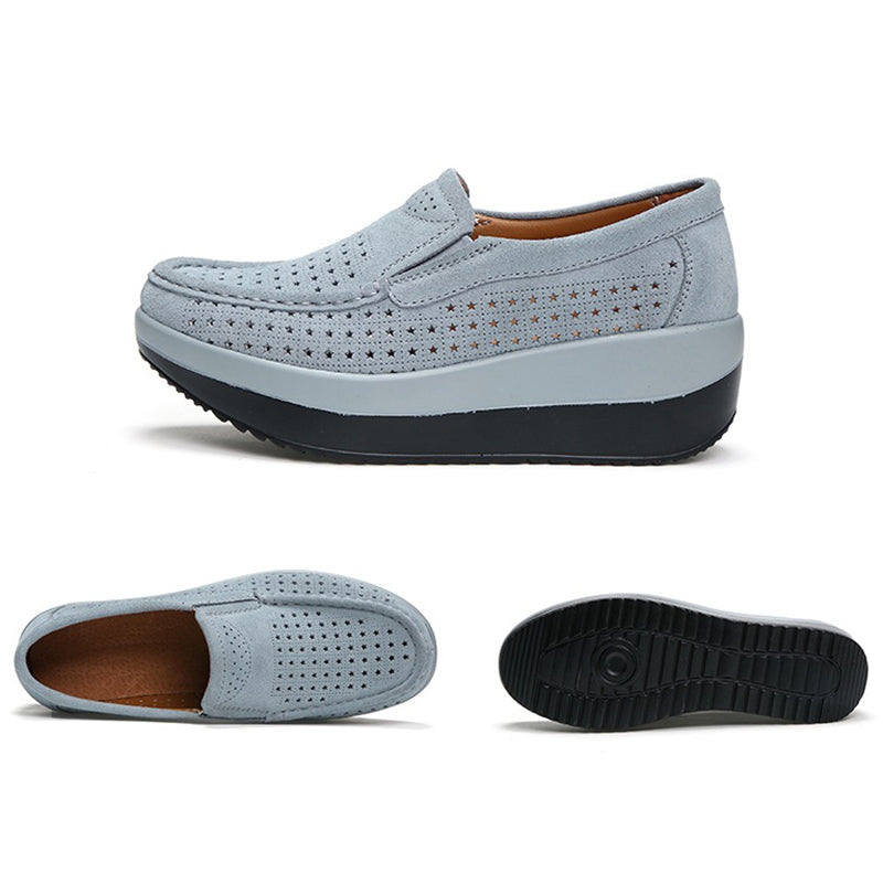 Hollow-out Genuine Leather Casual Loafers