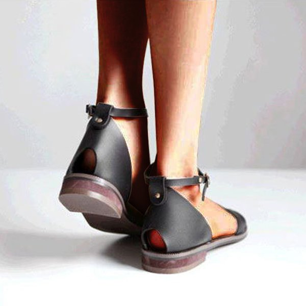 Women PU Sandals Casual Adjustable Buckle Shoes