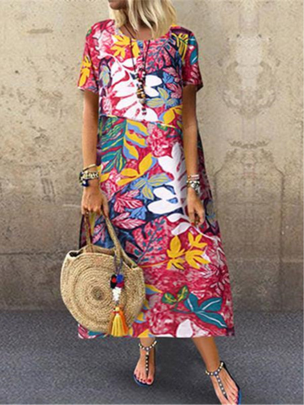 Vintage Floral Printed Crew Neck Short Sleeve Dress