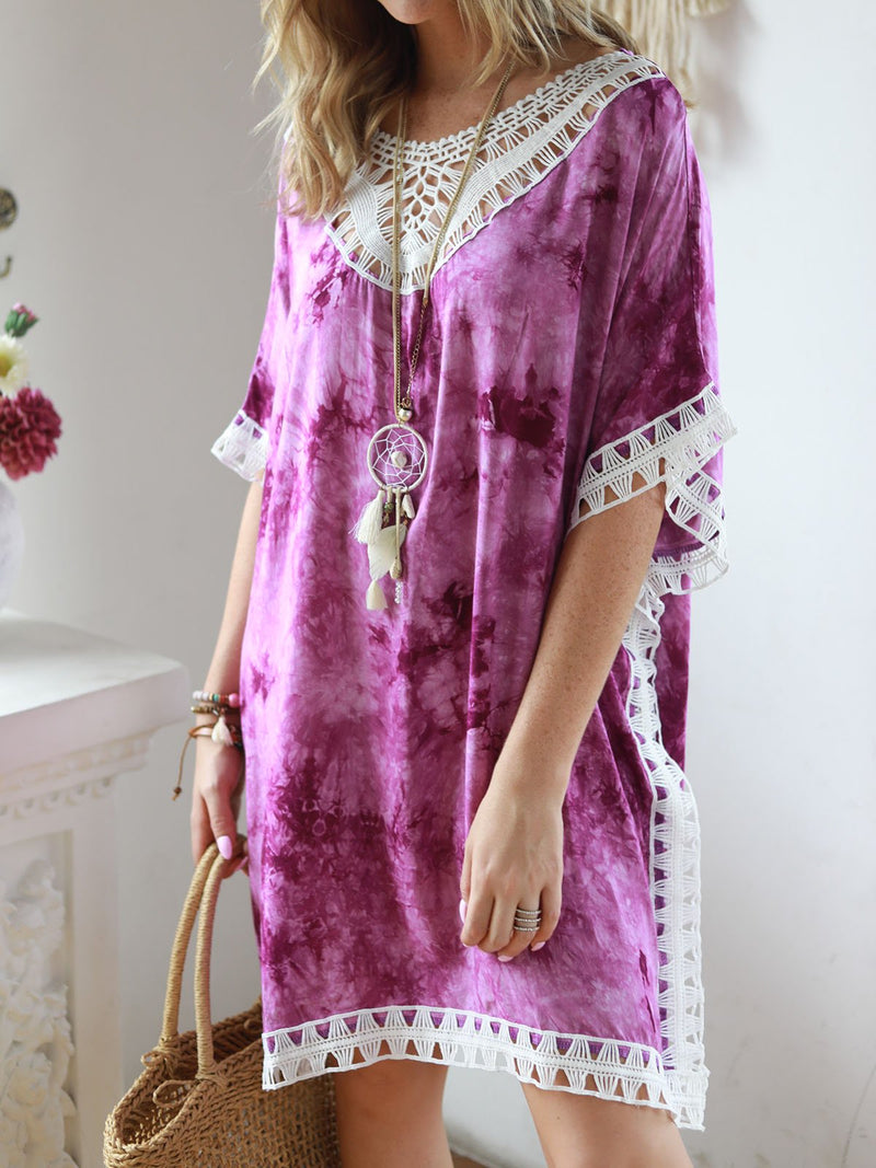 V Neck Women Summer Dresses Shift Daily Cotton-Blend Ombre/tie-Dye Dresses