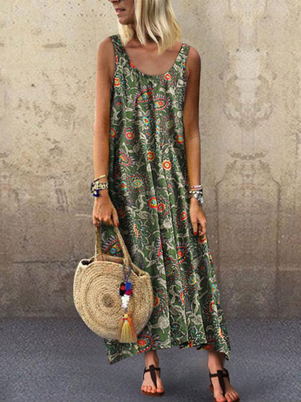 Women Summer Boho Sleeveless Casual Dresses