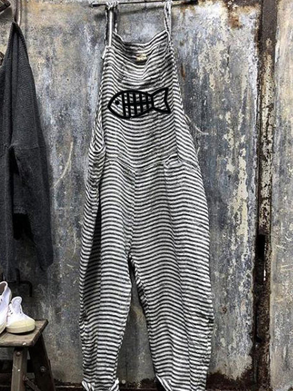 Women's Casual Striped Sleeveless Jumpsuits