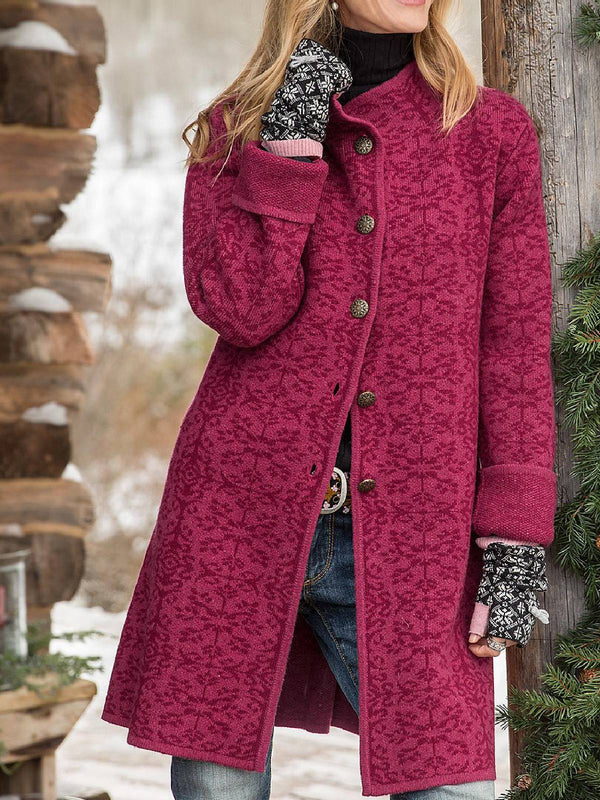 Rose Red Long Sleeve Cotton-Blend Buttoned Outerwear
