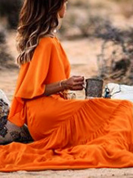 Crew Neck Orange Women Fall Dresses A-Line Daily Holiday Dresses