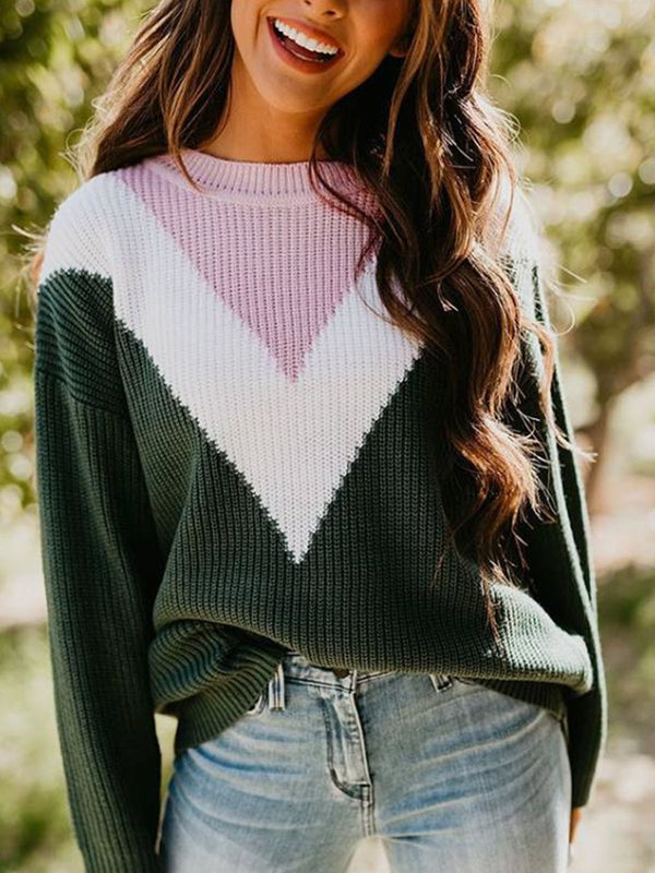 Color-Block Shift Casual Crew Neck Sweater