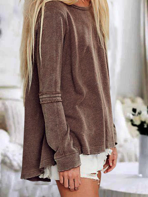 Brown Cotton-Blend Long Sleeve Shirts & Tops