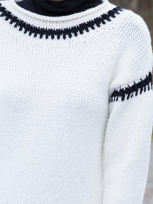 White Long Sleeve Cotton-Blend Color-Block Sweater