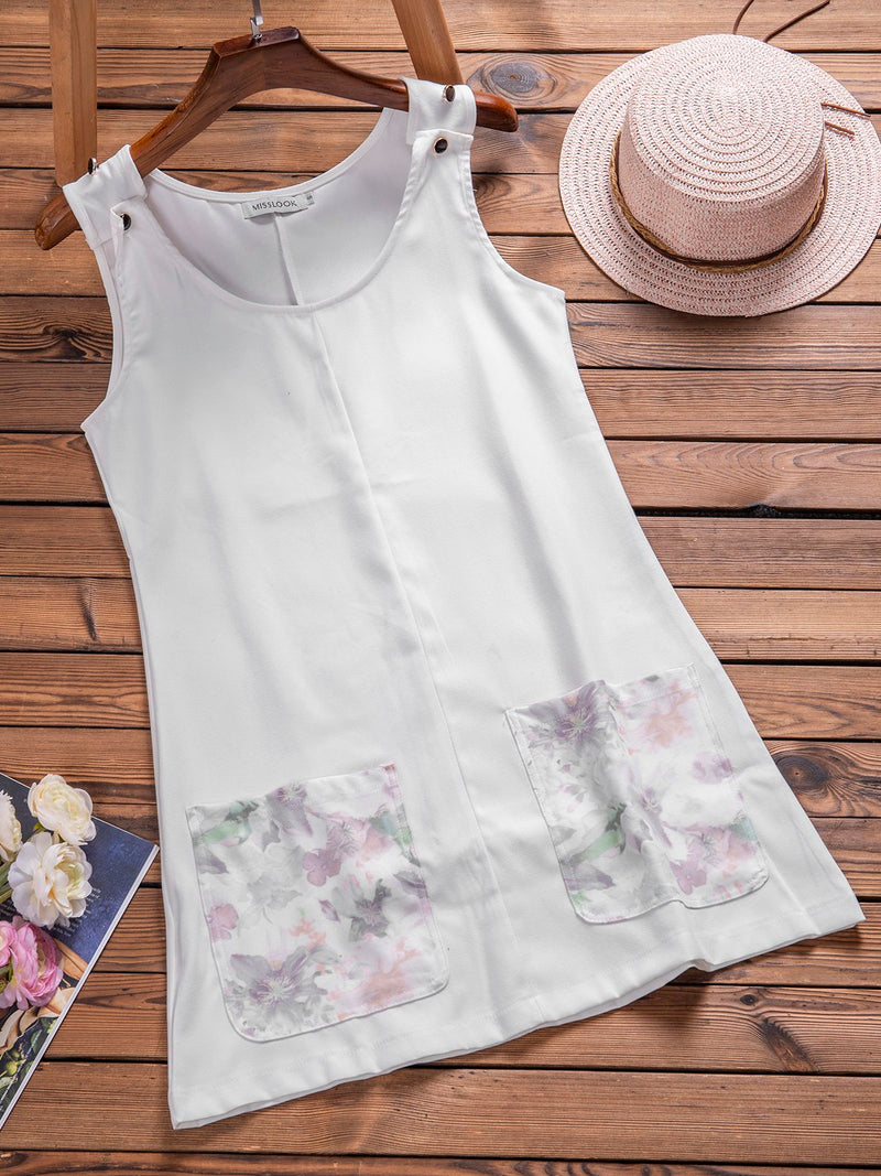 White Casual Floral-Print Dresses