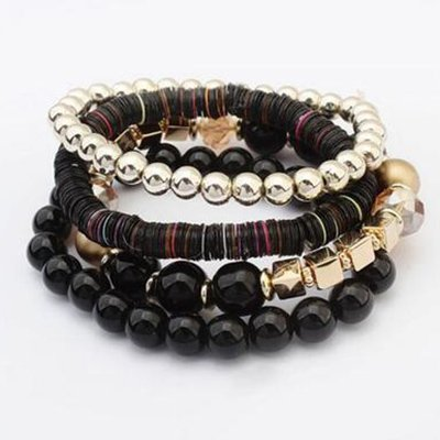Black Vintage Boho Beads Holiday Daily  Bracelet