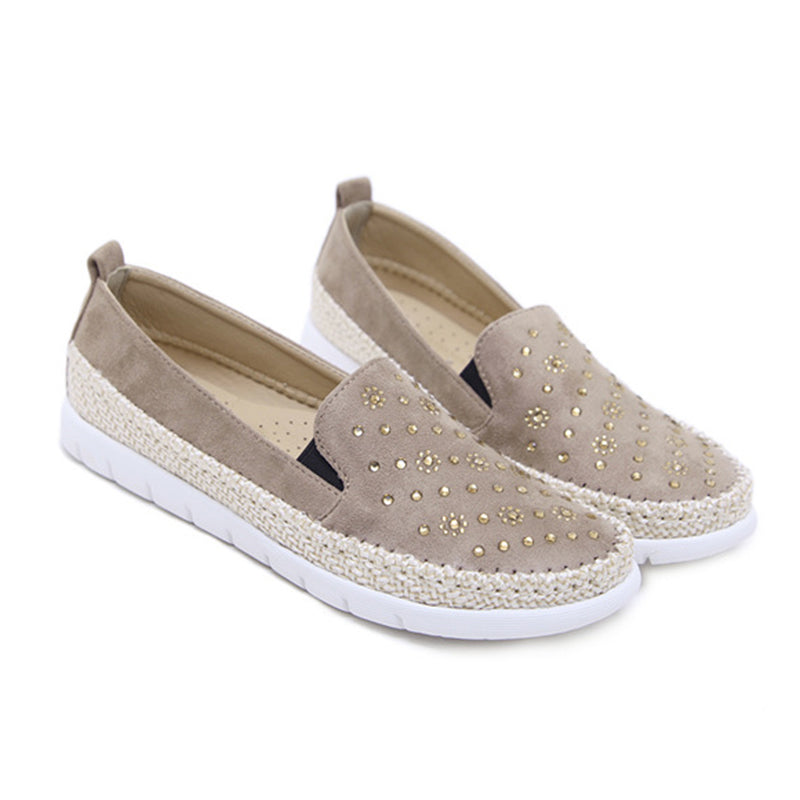 Women Rivet Loafers Casual Comfort Plus Size Shoes
