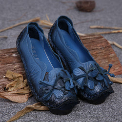 Dark Blue Flower Women's Cowhide Flat Slip-On Loafers