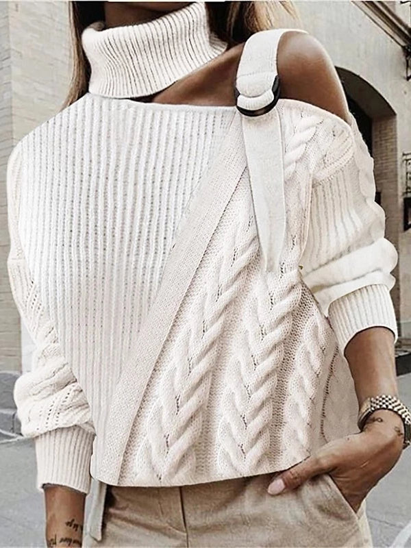 Knitted One Shoulder Sweater Plus Size Pullovers Jumpers