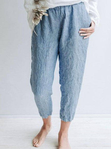 Blue Cotton Solid Casual Pants
