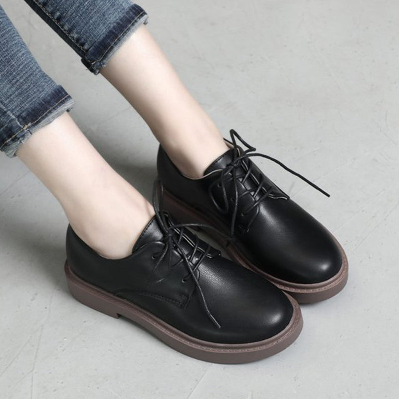 Women PU Loafers Casual Comfort Lace Up Shoes