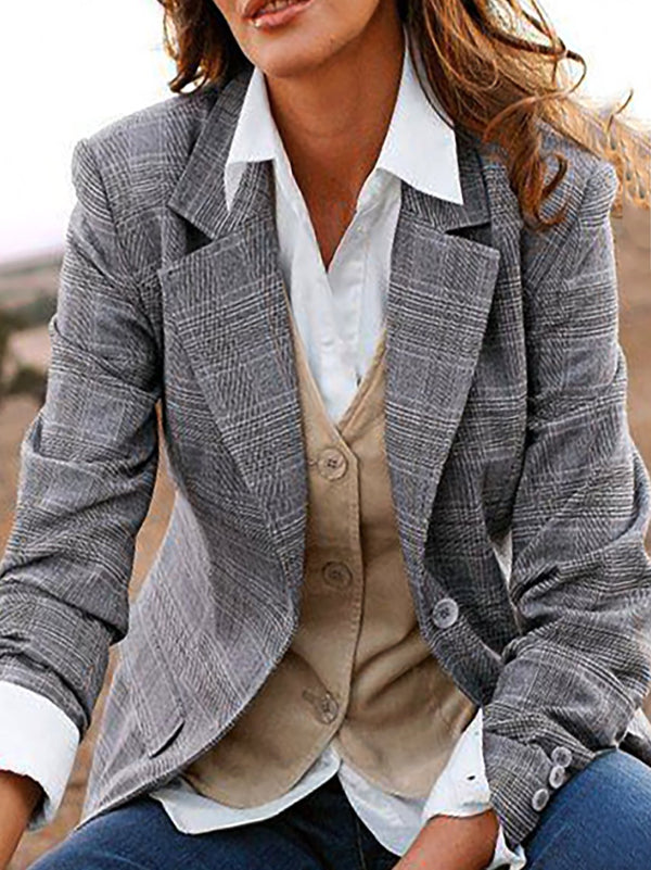 Checkered/plaid Lapel Long Sleeve Shift Outerwear
