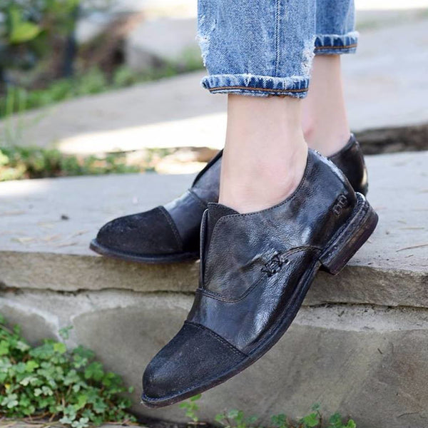 Plus Size Slip On Oxford Shoes Casual Faux Leather Loafers