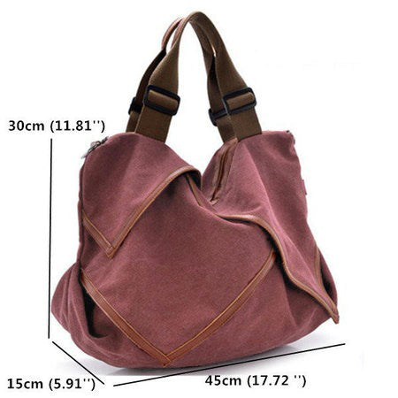 Flower Design Canvas Portable High Capacity Handbags Crossbody Shoulder Bag