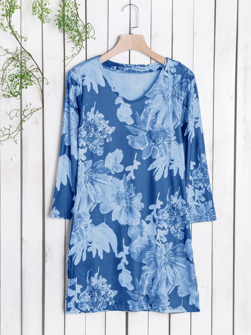 Vintage Women 3/4 Sleeves Floral Printing Casual Blouse Shirt
