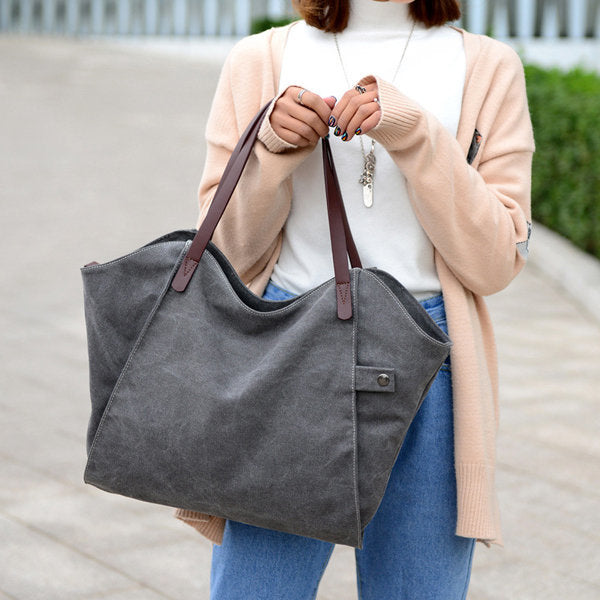 Durable Thicker Canvas Handbag Light Casual Large Capacity Shoulder Bag