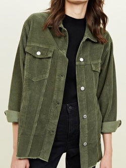 Green Corduroy Shirt Collar Pockets Casual Outerwear