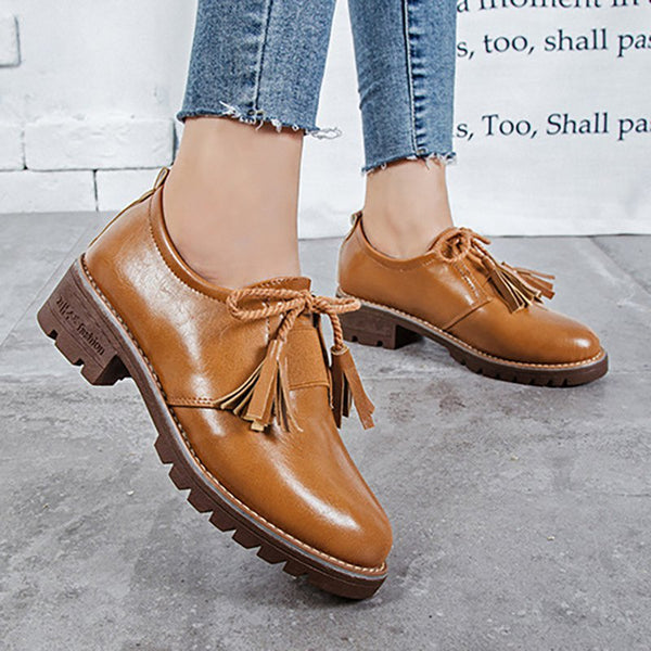 Women PU Loafers Casual Comfort Tassel Slip On Shoes