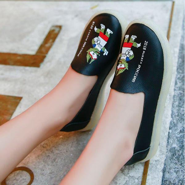 Women PU Loafers Flats Casual Comfort Slip On Shoes