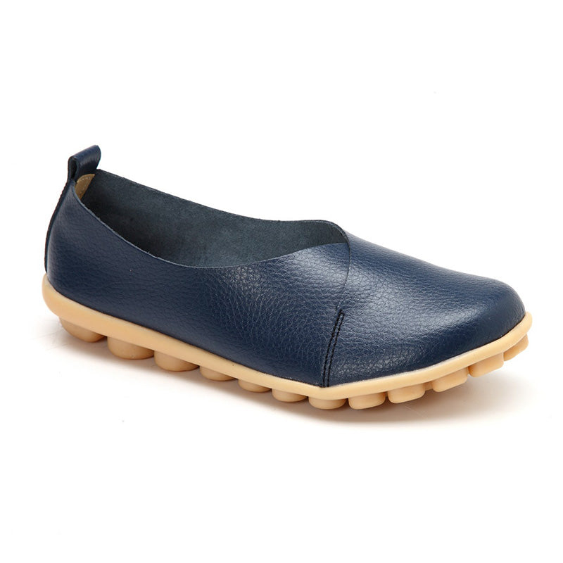 Slip On Daily Leather Flat Heel Shoes