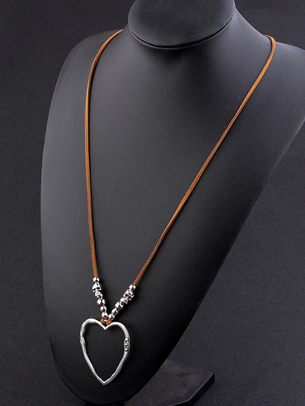 Womens Heart Sweater Necklaces