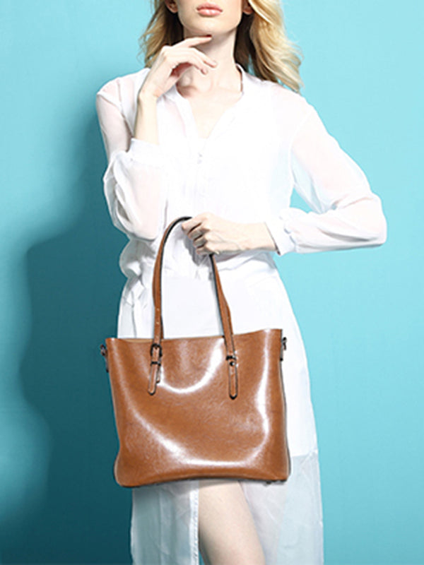 Solid Cowhide Leather Medium Zipper Simple Tote