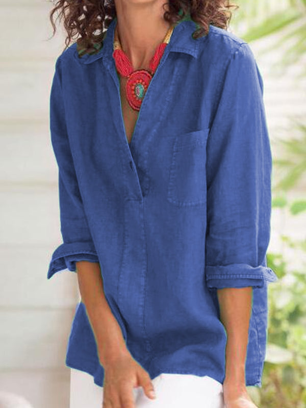 3/4 Sleeve Cotton-Blend Casual Buttoned Blouse