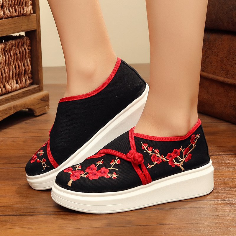 Women Canvas Loafers Platform Comfort Slip On Floral Embroidered Shoes