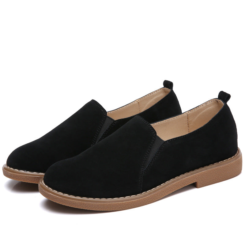Simple Slip-On Flat Heel Shoes Women Suede Gore Loafers