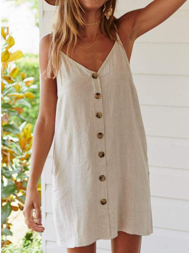 Beige Cold Shoulder Cotton-Blend V Neck Dresses
