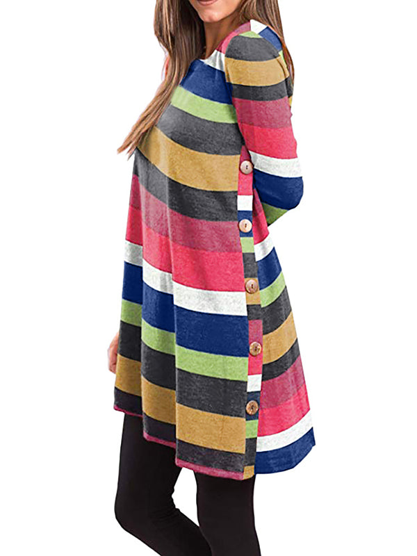 Women's Long Sleeve  Button Side Tunic Loose Soft Casual Dress