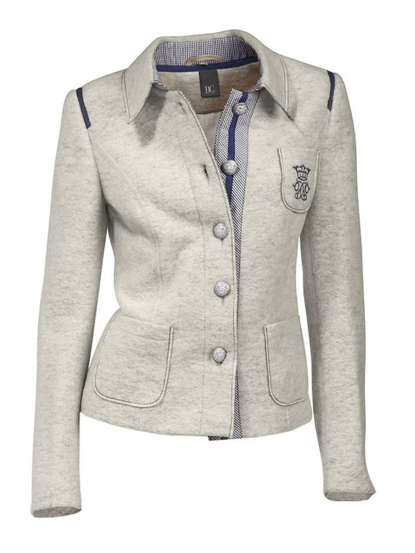 Gray Cotton-Blend Elegant Outerwear