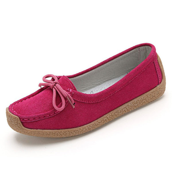 Rose Red Artificial Suede Summer Bowknot Flat Heel Daily Flat