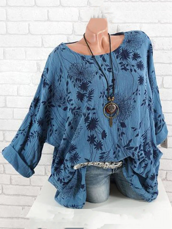 Floral  Crew Neck Linen Printed Long Sleeve Vintage Blouses