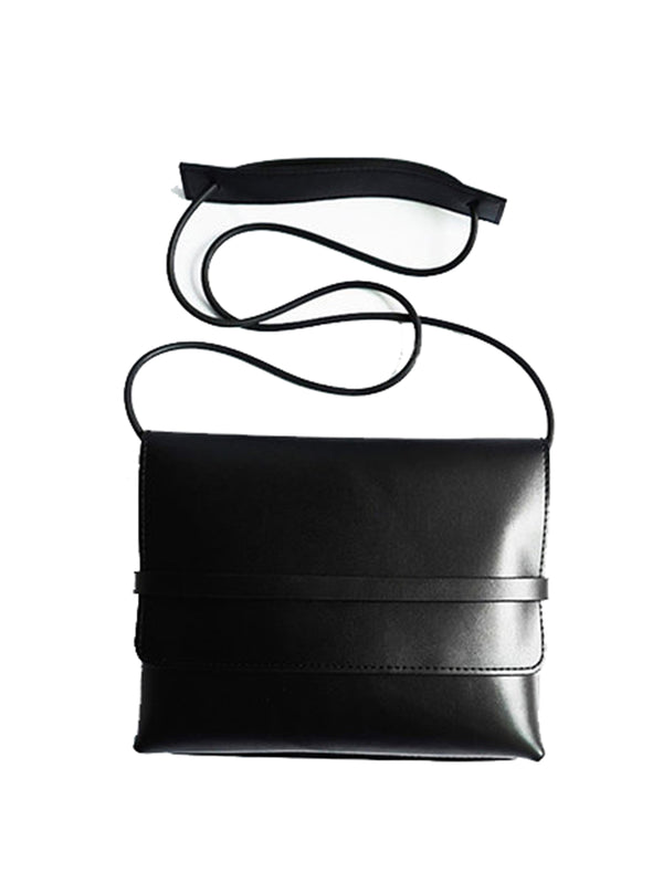 Black Rectangle Solid Split leather Casual Tuck-in Flap Crossbody