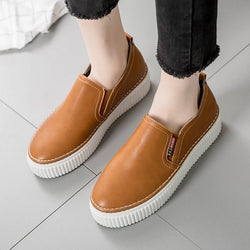 Women PU Loafers Casual Comfort Slip On Soft Shoes