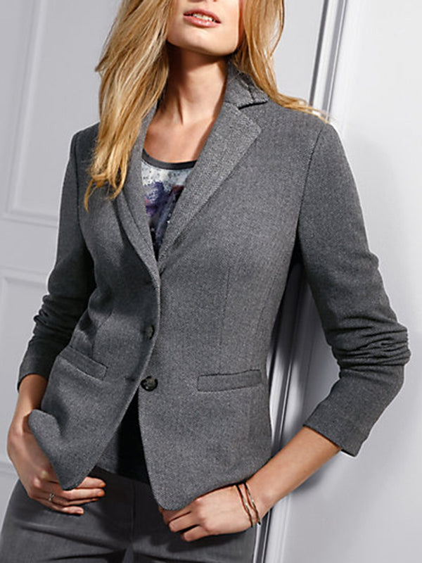 Gray Paneled Plain Formal Blazer