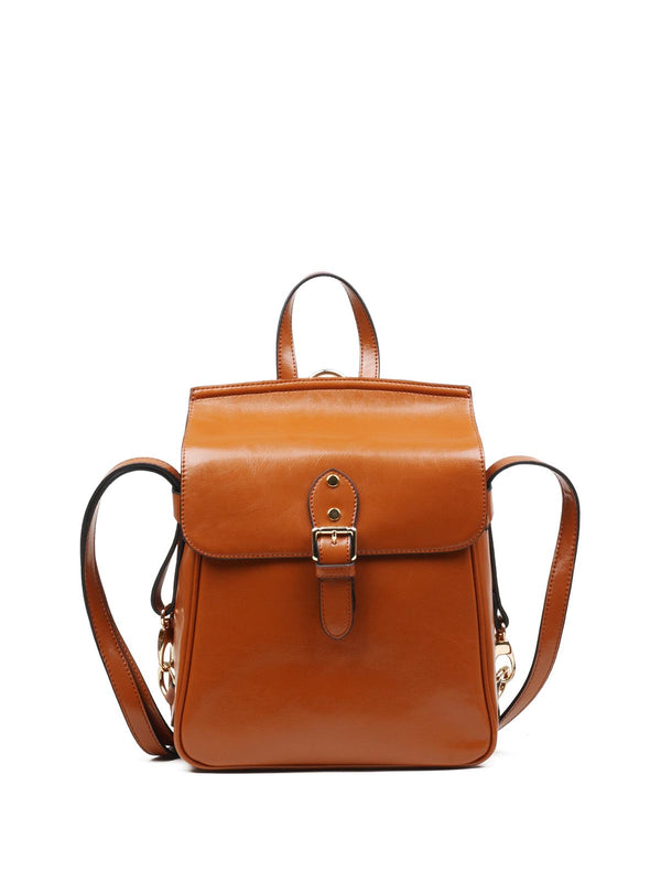 Brown Retro Cowhide Leather Magnetic Backpack
