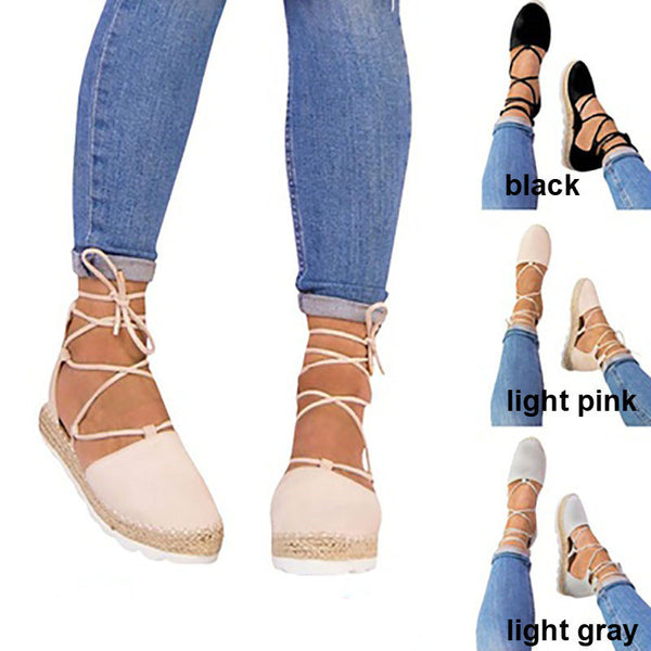 Women Fashion Flats Ankle Strap Sandals Bandage Plus Size Shoes