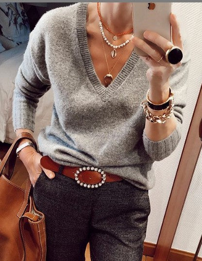 Gray Cotton-Blend V Neck Plain Long Sleeve Shirts & Tops