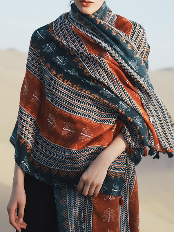 Boho Tribal Printed Fringed Holiday Scarf