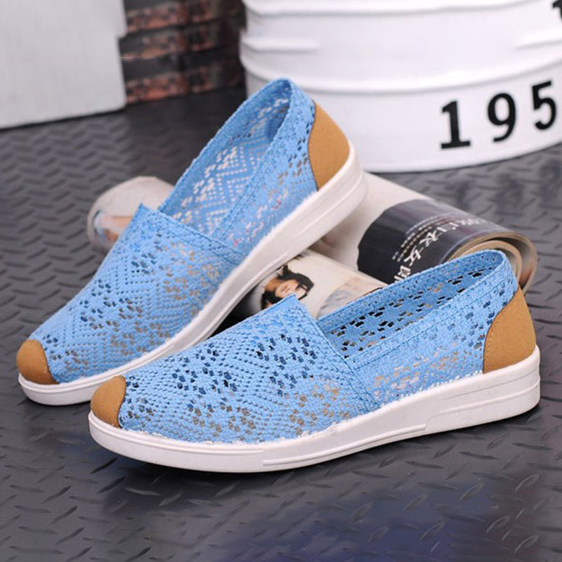 Light Blue Spring/Fall Mesh Fabric Casual Loafer