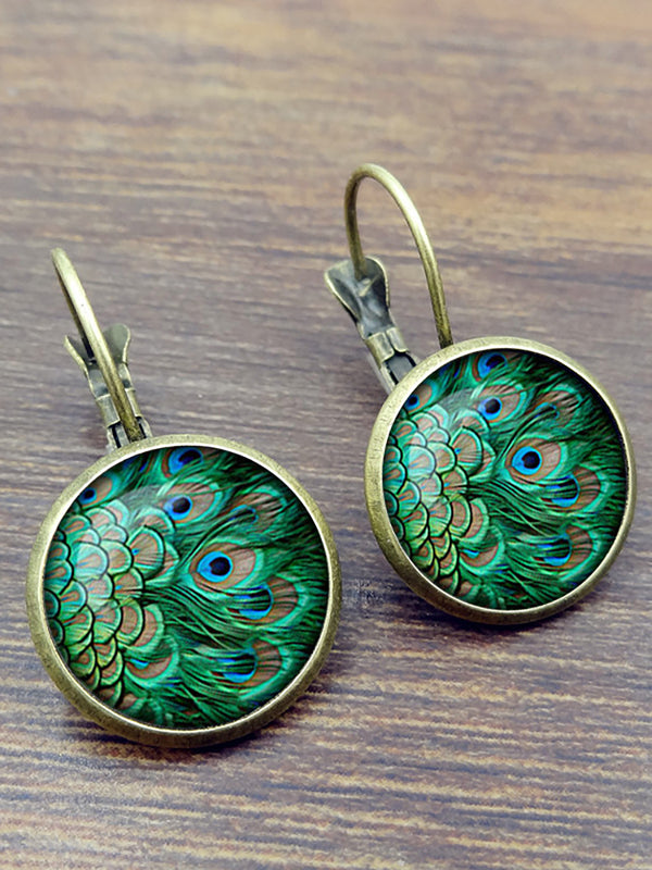 Vintage Peacock Feathers Pattern Earrings Bohemian Bronze Time Gem Cabochon Dangle Earrings
