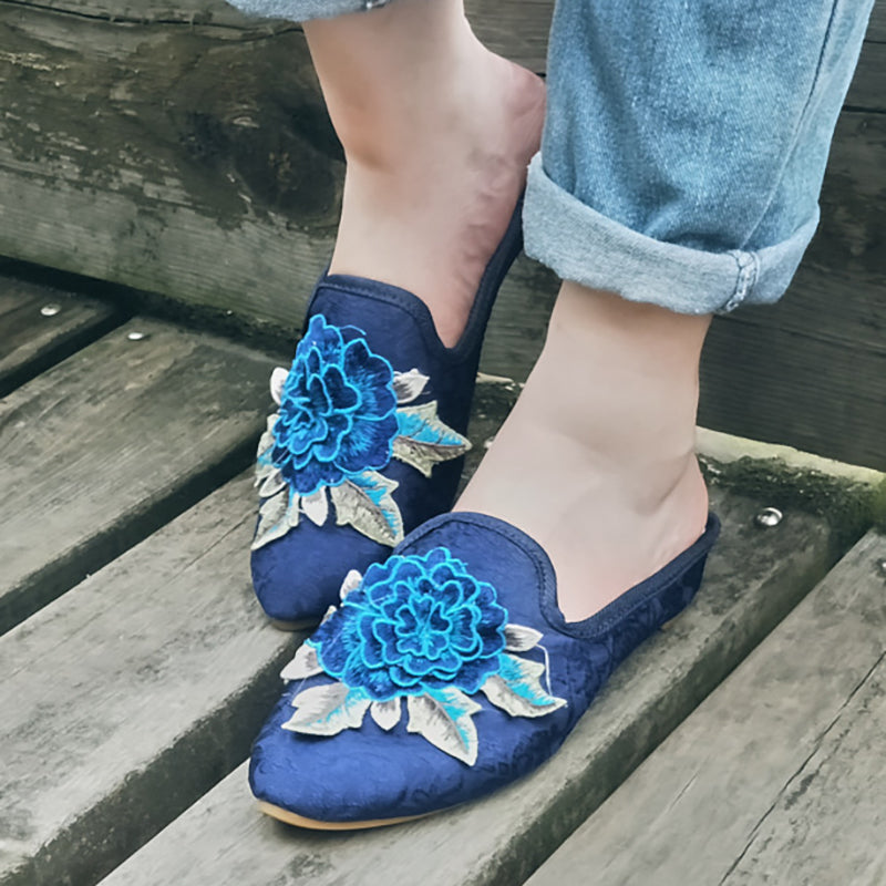 Women Satin Slippers Casual Closed Toe Floral Embroidered Shoes