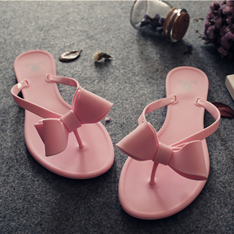 Women PVC Slippers Casual Bowknot Flip Flops Shoes
