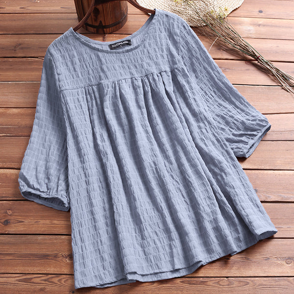Women Causal Solid Color Half Sleeves Tops