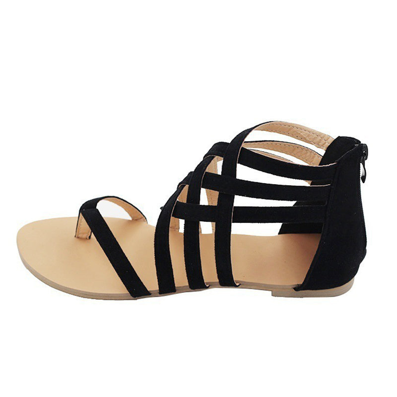 Black Casual Adjustable Buckle Spring/Fall PU Flat Heel Plus Size Sandals
